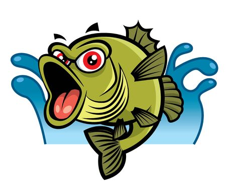 Cartoon Cute big red eyes bass fish character. Water splash background - vector mascot - vector