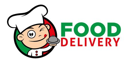 Cute Italian chef serving meal for food delivery - vector chef mascot.