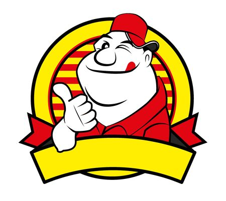 Cartoon Happy fat man with big thumb up with empty signage. Vector mascot character logo illustration