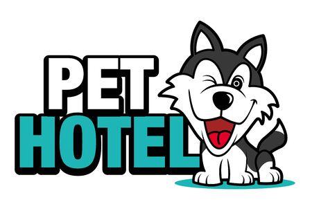 Cute husky dog with a big signboard, pet hotel Ilustracja