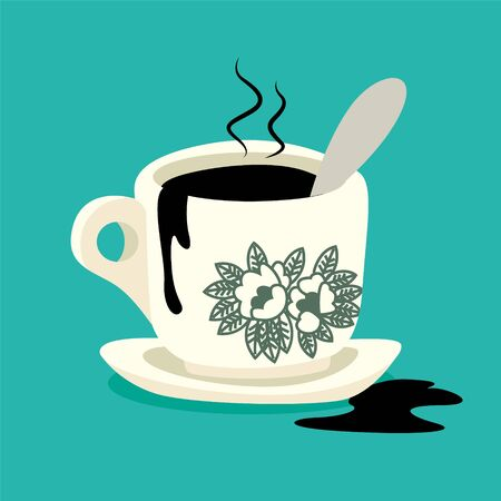 Traditional oriental style coffee on turquoise colour background