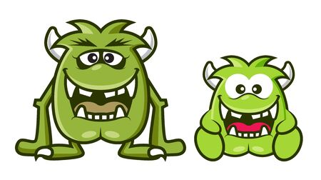 2 cartoon cute green monsters with horn laughing together. Halloween vector illustration