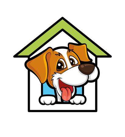 Cute happy dog in the pet house pet hotel Ilustracja