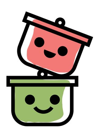 Cute pot characters stick together for potluck