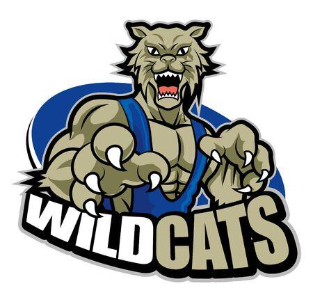 Strong fierce grey muscular wildcat mascot for sport theme
