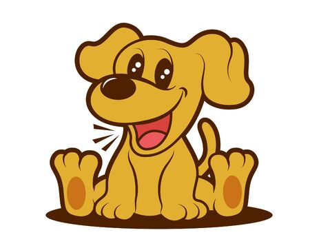 Cartoon cute brown puppy sitting, dog vector character illustration