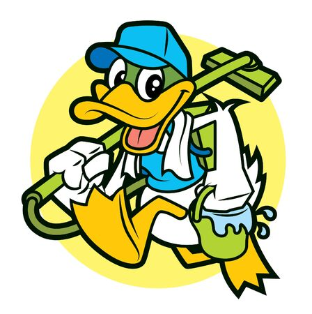Cartoon duck the cleaner mascot holding a vacuum cleaner and pail with water