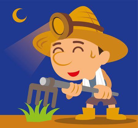Cartoon hardworking  farmer farming at night, vector illustration 向量圖像