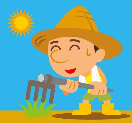 Hardworking farmer farming under hot sun, vector illustration 向量圖像