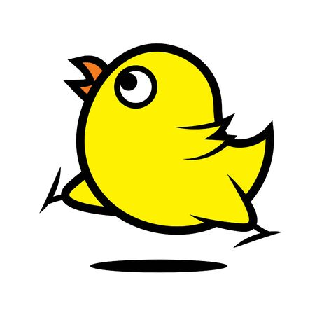 Cute cartoon yellow chicken. Running chicken, vector character mascot. Isolated. 矢量图像