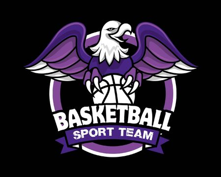 eagle with claws holding a basketball sport. Eagle spread the wings. An eagle angry animal sports mascot. Ilustrace