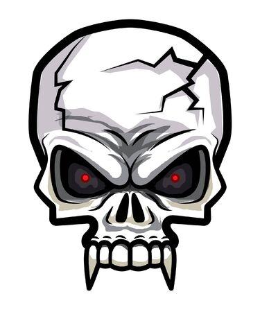 Cartoon horror skull in vector illustration. Isolated.