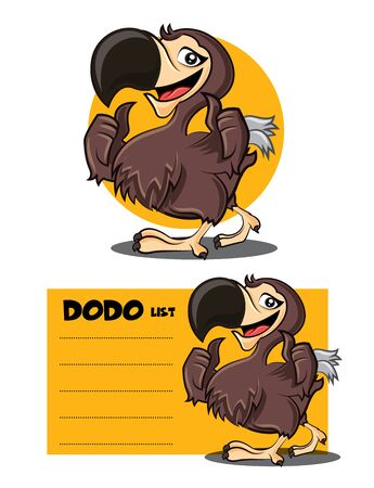 Cartoon cute happy Dodo bird character showing GOOD hand signs and to do list signage or signboard. Dodo bird Vector mascot illustration set.