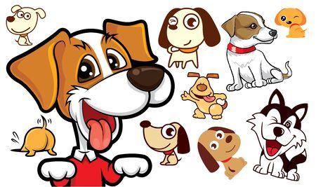 Set of Cute cartoon dog series- vector mascot illustration