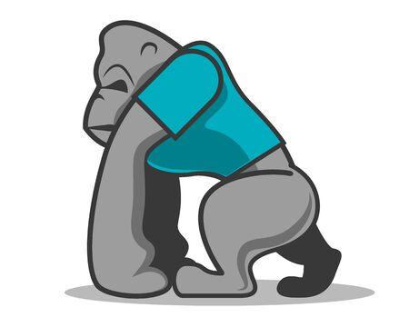 Muscular gorilla mascot wearing blue cloth - Vector illustration Ilustrace
