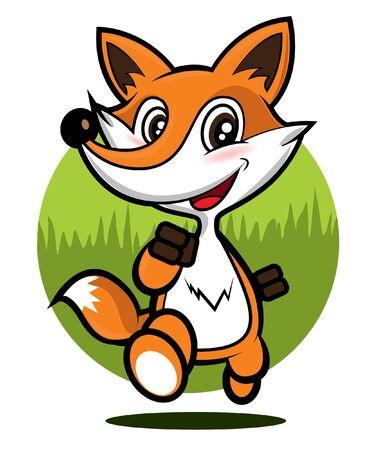 Cute fox running on green glade. Vector illustration animal cartoon character.