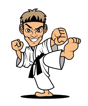 Cartoon Master of Karate kicking pose. Vector mascot illustration.