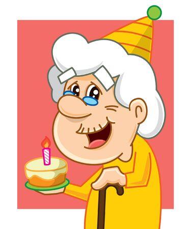 Character Cartoon Granny Old Lady celebrates her birthday. Birthday party. Vector illustration Illustration