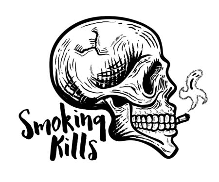 Smoking kills. Retro Smoking skull vector illustration Ilustracja