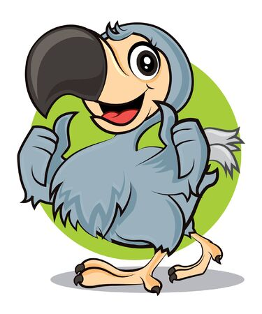 Cartoon cute happy Dodo bird showing GOOD hand signs. Vector mascot character illustration. Иллюстрация