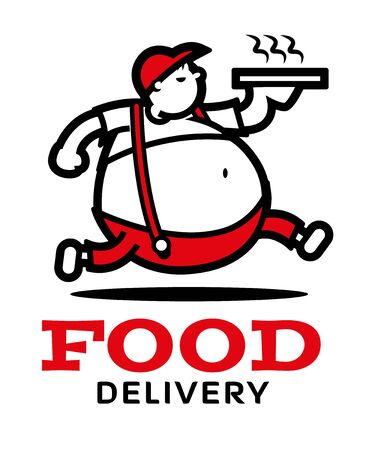 Pizza delivery  running fat boy character with big title Vectores
