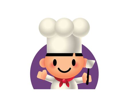 Cartoon cute chef holding a spatula cooking tool. Vector illustration