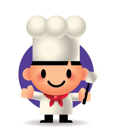 Cartoon chute chef holding a spatula cooking tool. 일러스트