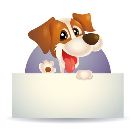 Cute dog holding a signboard. Dog character illustration. Vector illustration of dog Ilustracja
