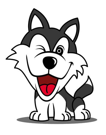 Cartoon cute smiling Husky Dog character mascot - vector illustration