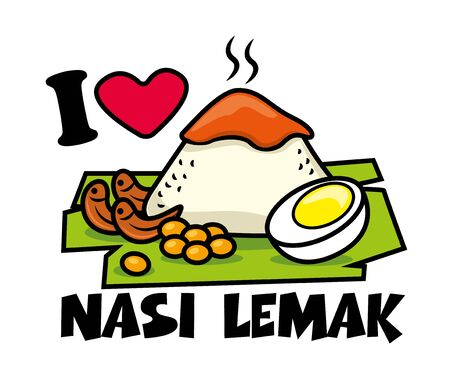 Nasi Lemak dishes. Traditional malay food. Nasi Lemak rice with boiled egg, peanuts, banana leaf. Spicy Sambal on top of rice. Tagline: I love Nasi Lemak - vector illustration