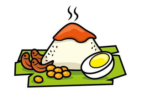 Traditional malay food. Nasi Lemak rice with boiled egg, peanuts, banana leaf. Spicy Sambal topping. Nasi Lemak dishes. - vector isolated