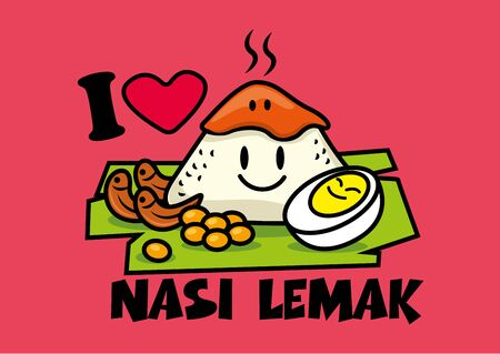 Nasi Lemak. Traditional malay food. Cute characters of Nasi Lemak rice with boiled egg, peanuts, banana leaf. Spicy Sambal on top of rice. Tagline: I love Nasi Lemak