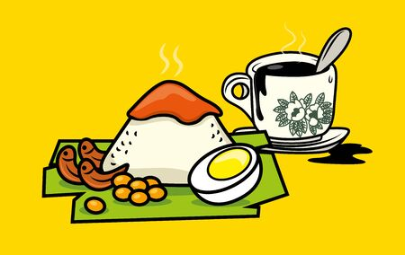 Traditional malay food nasi lemak with Hainanese traditional Coffee (Kopi-O)- malaysia meal set vector illustration Çizim