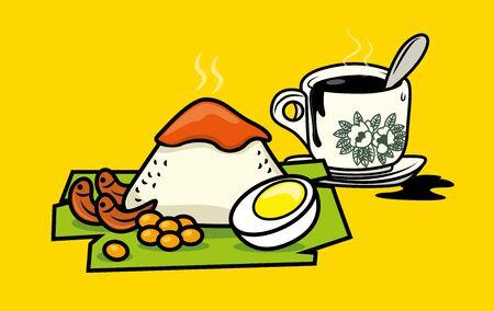 Traditional malay food nasi lemak with Hainanese traditional Coffee (Kopi-O)- malaysia meal set vector illustration Ilustrace