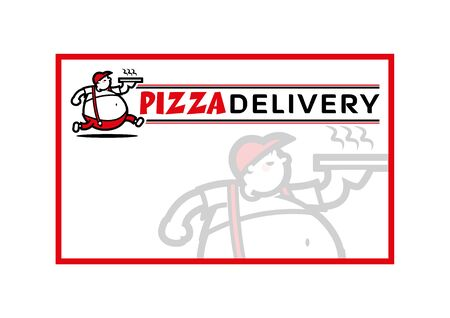 Vector graphic of pizza delivery fat boy. Isolated on white. Menu board signage.