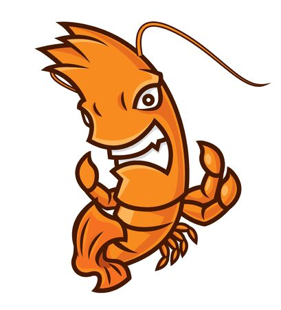Cartoon character of mad prawn sport theme mascot-vector
