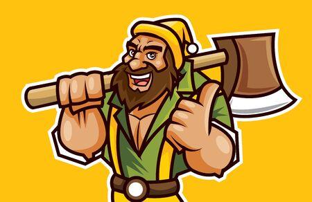 Leñador de dibujos animados lleva un gorro y sostiene un hacha en el hombro. Leñador barbudo con signo de buena mano - Vector