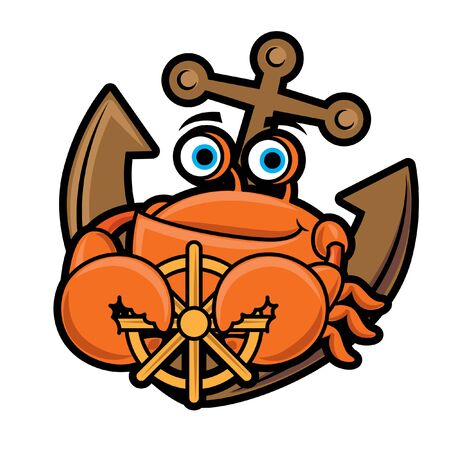 Cartoon character seafood crab holding a steering wheel, anchor background. Vector illustration  イラスト・ベクター素材