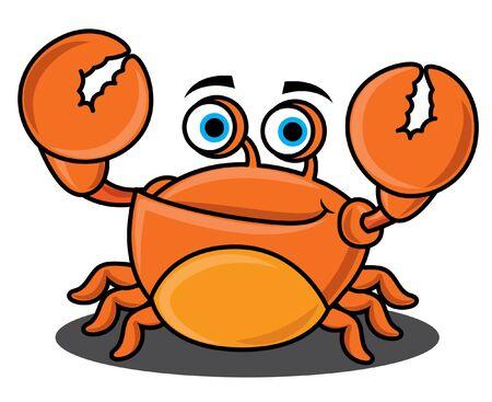 Cartoon character cute seafood crab raising up claws and smile. Vector mascot illustration. Illustration