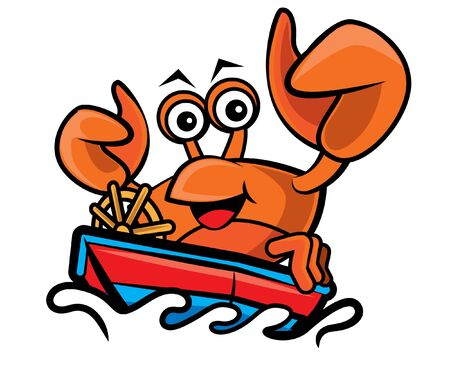 Cartoon character happy seafood crab driving the boat in the sea. Vector mascot illustration