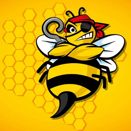 Angry pirate bee for sport team. Cartoon bee vector illustration. Yellow background. Honey comb pattern.