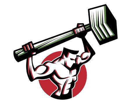 Retro strong worker bring a big Sledge Hammer. Vintage vector illustration