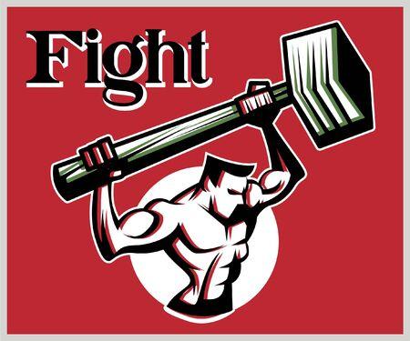 Retro strong worker bring a big Sledge Hammer. Vintage vector illustration. Red background. Иллюстрация