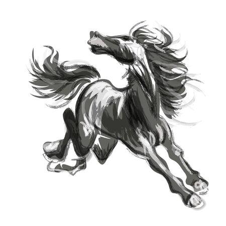 Calligraphie de cheval. Peinture de style oriental d'un cheval courant, aquarelle traditionnelle et lavis à l'encre - illustration vectorielle