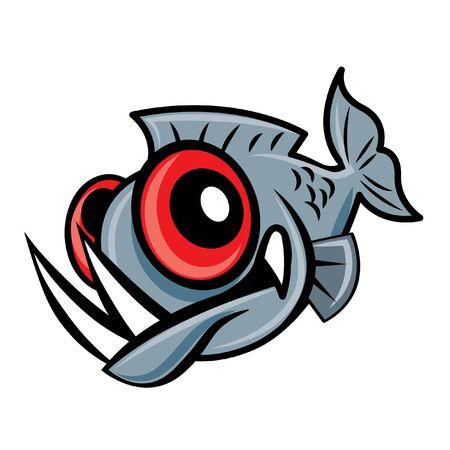 Cartoon carino grandi occhi pesce piranha, personaggio mascotte vettoriale
