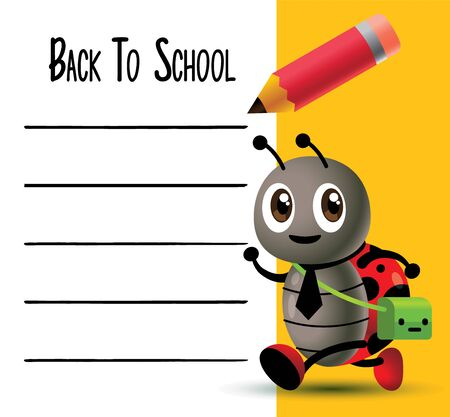 Cartoon cute ladybird back to school with whiteboard and pencil. - vector