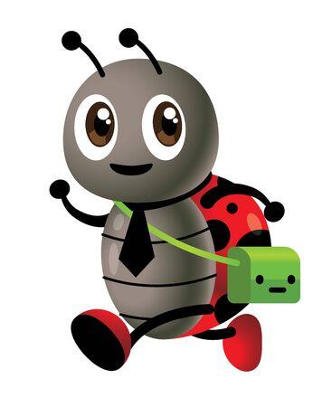 Back to school vector. Cartoon cute ladybird character carries school bag, wear school shoes walking to school and study - Vector mascot