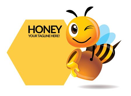 Cartoon cute bee carries honey pot with big signage or signboard