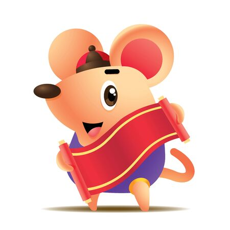 Cartoon cute little rat holds chinese calligraphy scroll. Rat chinese new year 2020