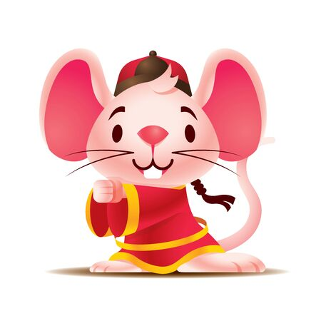 Cartoon cute white rat with big ears wears traditional Chinese jacket greeting Gong Xi Fa Cai. Rat Chinese New Year 2020. The year of ratmicemouse. - Vector